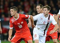 Fussball International  WM Qualifikation 2014   12.10.2012 Schweiz - Norwegen Granit Xhaka (li, Schweiz) gegen Havard Nordtveit (Norwegen)