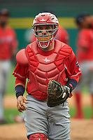 Louisville Bats catcher Raffy Lopez (9) during a game against the Buffalo Bisons on June 23, 2016 at Coca-Cola Field in Buffalo, New York.  Buffalo defeated Louisville 9-6.  (Mike Janes/Four Seam Images)