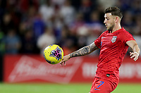 ORLANDO, FL - NOVEMBER 15: Paul Arriola #7 of the United States keeps his eyes on the ball during a game between Canada and USMNT at Exploria Stadium on November 15, 2019 in Orlando, Florida.