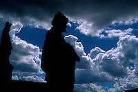 The 12 Prophets ( os 12 Profetas ), sculptured in soapstone by Aleijadinho. Basílica do Senhor Bom Jesus do Matosinho ( Basilica ). Cultural World Heritage. City: Congonhas, State: Minas Gerais, Brazil.