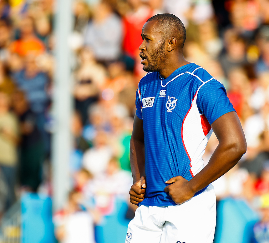 Namibia's Tjuee Uanivi in action during todays match<br /> <br /> Photographer Simon King/CameraSport<br /> <br /> Rugby Union - 2015 Rugby World Cup Pool C - Namibia v Tonga - Tuesday 29th September 2015 - Sandy Park - Exeter<br /> <br /> &copy; CameraSport - 43 Linden Ave. Countesthorpe. Leicester. England. LE8 5PG - Tel: +44 (0) 116 277 4147 - admin@camerasport.com - www.camerasport.com