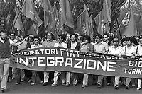 - general strike of FIAT workers, june 1983....- sciopero generale  dei lavoratori della FIAT, giugno 1983