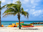Colorful boats and palm tree on a beach at Princess Cays, Eleuthera, Bahamas