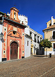 Attractive historic doorway and buildings in old inner city, Cordoba, Spain