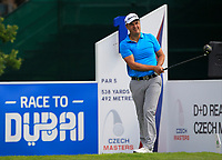 Simon Khan (ENG) on the 1st tee during Round 1 of the D+D Real Czech Masters at the Albatross Golf Resort, Prague, Czech Rep. 31/08/2017<br /> Picture: Golffile | Thos Caffrey<br /> <br /> <br /> All photo usage must carry mandatory copyright credit     (&copy; Golffile | Thos Caffrey)
