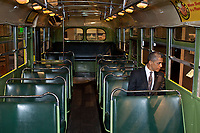 "April 18, 2012<br /> ""We were doing an event at the Henry Ford Museum in Dearborn, Michigan. Before speaking, the President was looking at some of the automobiles and exhibits adjacent to the event, and before I knew what was happening he walked onto the famed Rosa Parks bus. He sat in one of the seats, looking out the window for a only few seconds."" (Official White House Photo by Pete Souza)<br /> <br /> This official White House photograph is being made available only for publication by news organizations and/or for personal use printing by the subject(s) of the photograph. The photograph may not be manipulated in any way and may not be used in commercial or political materials, advertisements, emails, products, promotions that in any way suggests approval or endorsement of the President, the First Family, or the White House."