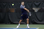 27 January 2017: Notre Dame's Eddy Covalschi. The University of North Carolina Tar Heels hosted the University of Notre Dame Fighting Irish at the Cone-enfield Tennis Center in Chapel Hill, North Carolina in the first round of the Intercollegiate Tennis Association Men's Indoor Team Championship. North Carolina won the match 4-0.