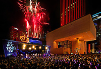 Thousand of people filled the Levine Avenue of the Arts in Uptown Charlotte late Monday night to watch the fireworks and welcome in 2019. The CLT New Year's Eve returned to the Levine Avenue of Arts, and was presented by Ally - Charlotte Center City Partners. <br /> <br /> Photo by: PatrickSchneiderPhoto.com