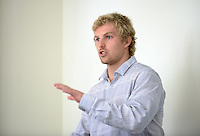 """Garrett Van presents on """"Aims of Education."""" After researching all summer, Occidental College students present their work at the annual Summer Undergraduate Research Conference on July 29, 2015.<br /> (Photo by Marc Campos, Occidental College Photographer)"""