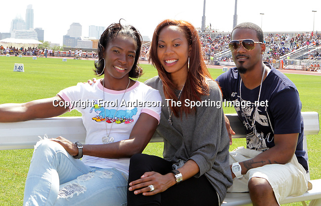 Melaine Walker, Sanya Richards-Ross and her husband Aaron Ross at the 84th. Clyde Littlefield Texas Relays on Saturday, April 9th. 2011. Photo by Errol Anderson