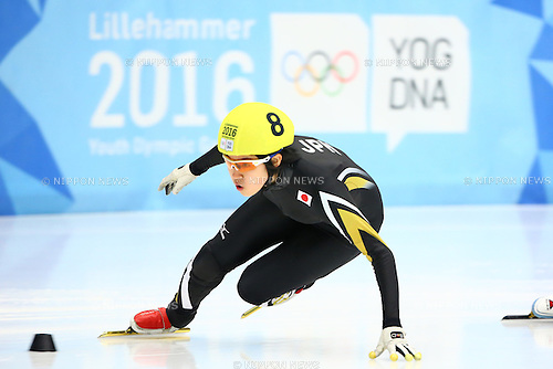 Shione Kaminaga (JPN),<br /> FEBRUARY 16, 2016 - Short Track : <br /> Women's 500m<br /> at Gjovik Olympic Cavern Hall<br /> during the Lillehammer 2016 Winter Youth Olympic Games <br /> in Lillehammer, Norway.<br /> (Photo by Shingo Ito/AFLO SPORT)