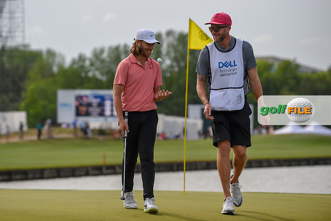 Tommy Fleetwood (ENG) and his caddie share a laugh as they depart 13 during day 2 of the WGC Dell Match Play, at the Austin Country Club, Austin, Texas, USA. 3/28/2019.<br /> Picture: Golffile   Ken Murray<br /> <br /> <br /> All photo usage must carry mandatory copyright credit (© Golffile   Ken Murray)