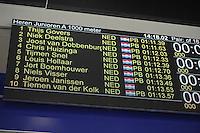 SCHAATSEN: HEERENVEEN: 04-02-2017, KPN NK Junioren, Uitslag Junioren A Heren 1000m, Niek Deelstra, Thijs Govers, Joost van Dobbenburgh, ©foto Martin de Jong