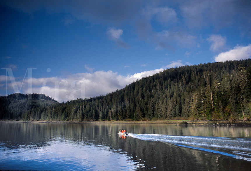 Small boat on pristine lake, Alaska