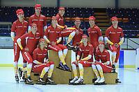 SCHAATSEN: HEERENVEEN: Thialf IJsstadion, 20-09-2012, Team Corendon 2012-2013, achter: Pepijn van der Vinne, Bas Bervoets, Floor van den Brandt, Natasja Bruintjes, Karsten van Zeijl, Rienk Nauta, voor: Jorien Voorhuis, Roxanne van Hemert, Annouk van der Weijden, Carlijn Achtereekte, Marije Joling, ©foto Martin de Jong