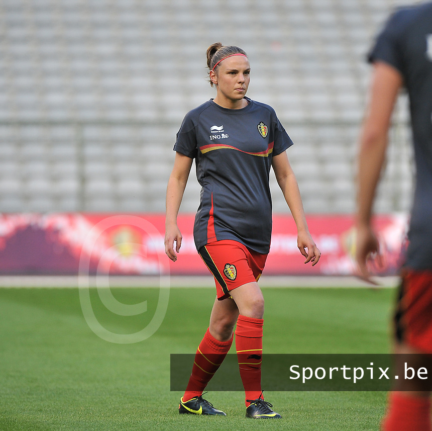20130921 - BRUSSELS , BELGIUM : Belgian Lorca Van De Putte pictured during the female soccer match between Belgium and Albania , on the first matchday in group 5 of the UEFA qualifying round to the FIFA Women World Cup in Canada 2015 at the Koning Boudewijn Stadion , Brussels . Saturday 21th September 2013. PHOTO DAVID CATRY