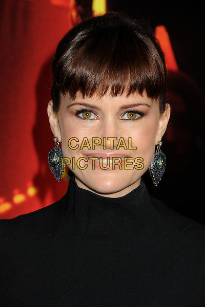 "CARLA GUGINO .""A Nightmare On Elm Street"" Los Angeles Premiere held at Grauman's Chinese Theatre, Hollywood, California, USA, 27th April 2010..portrait headshot fringe smiling blue dangly earrings black .CAP/ADM/BP.©Byron Purvis/AdMedia/Capital Pictures."