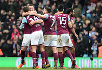 John Terry and Conor Hourihane of Aston Villa share a hug after their win during the Sky Bet Championship match between Aston Villa and Birmingham City at Villa Park, Birmingham, England on 11 February 2018. Photo by Bradley Collyer/PRiME Media Images.