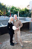 "Ed begley Jr. and Rachelle Carson-Begley. Steel framing began on 1/14/2013 over the foundation on the Begley's new home. Steel, while not a common material for residential framing, is 94% recyclable, has been milled locally for this project, and is a more sustainable choice than wood, which is typically used for residential building construction. Ed Begley Jr. (noted actor and environmentalist) and his wife Rachelle Carson-Begley are building their new home under LEED Platinum Certified standards in an attempt to become North America's greenest, most sustainable home. It is also being filmed for their web series ""On Begley Street."" Studio City, California, USA"