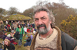 Tony Wrench and his  low impact  roundhouse,  + in background people who have come to squat  his house  in an effort to  prevent Pembrokeshire Natl parks from pulling it down - as it doesnt have planning permission.