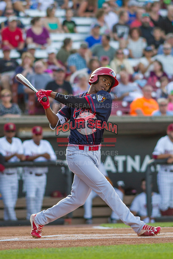 Peoria Chiefs outfielder Magneuris Sierra (34) at bat during a Midwest League game against the Wisconsin Timber Rattlers on July 9, 2016 at Fox Cities Stadium in Appleton, Wisconsin. Peoria defeated Wisconsin 3-2. (Brad Krause/Four Seam Images)