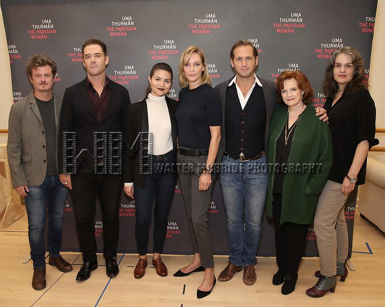 Beau Willimon, Marton Csokas, Phillipa Soo, Uma Thurman, Josh Lucas, Blair Brown and Pam MacKinnon attend the Meet & Greet Photo Call for the cast of Broadways 'The Parisian Woman' at the New 42nd Street Studios on October 18, 2017 in New York City.