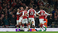 Celebrations after Alexandre Lacazette of Arsenal scores a goal during the UEFA Europa League Semi Final 1st leg match between Arsenal and Atletico Madrid at the Emirates Stadium, London, England on 26 April 2018. Photo by Andy Aleksiejczuk / PRiME Media Images