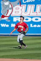 Vancouver Canadians left fielder Tanner Kirwer (19) prepares to catch a fly ball during a Northwest League game against the Spokane Indians at Avista Stadium on September 2, 2018 in Spokane, Washington. The Spokane Indians defeated the Vancouver Canadians by a score of 3-1. (Zachary Lucy/Four Seam Images)