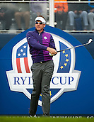 24.09.2014. Gleneagles, Auchterarder, Perthshire, Scotland.  The Ryder Cup.  Ian Poulter (EUR) on the 17th tee during his practice round.