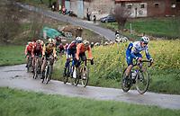 Yves Lampaert (BEL/Deceuninck-QuickStep) & Greg Van Avermaet (BEL/CCC) up the Rekelberg<br /> <br /> 75th Omloop Het Nieuwsblad 2020 (1.UWT)<br /> Gent to Ninove (BEL): 200km<br /> <br /> ©kramon