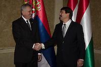 Tomislav Nikolic president of Serbia meets Janos Ader