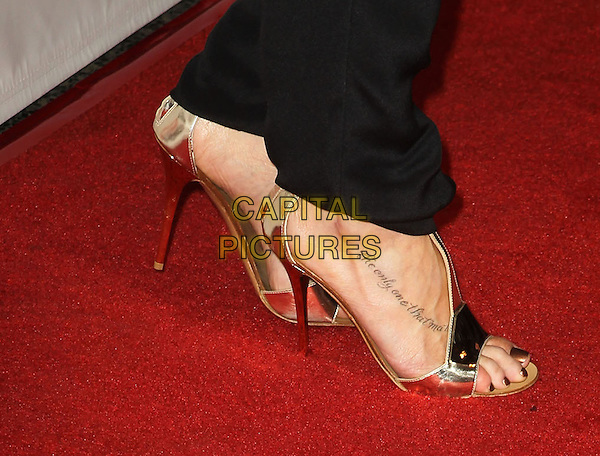 LeAnn Rimes's shoes .NOH8 Celebrity Studded 4th Anniversary Held At Avalon Dome, Hollywood, California, USA, .13th December 2012..gold sandals heels open toe tattoo foot the only one that matters script .CAP/ADM/KB.©Kevan Brooks/AdMedia/Capital Pictures.