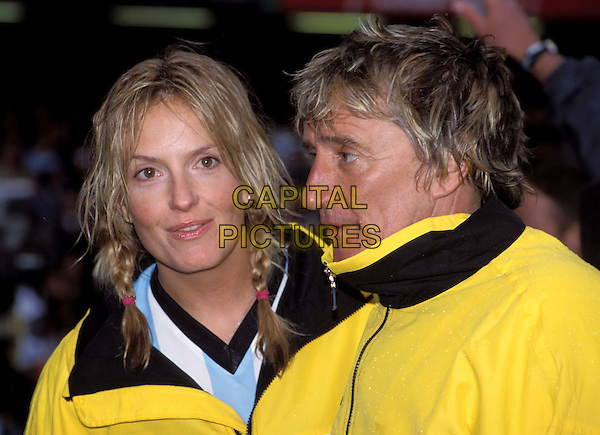 PENNY LANCASTER & ROD STEWART..Music Industry Soccer Six Tournament at Stamford Bridge.  ..Ref: 11720..older man, younger woman, plaits, braids..www.capitalpictures.com..sales@capitalpictures.com..©Capital Pictures..headshot, portrait