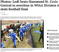Fans congratulate players, as Lodi wins the WIAA Division 4 state high school championship football game 17-10 in overtime versus St. Croix Central on Thursday, 11/16/17, at Camp Randall Stadium in Madison, Wisconsin | Wisconsin State Journal article front page Sports 11/17/17 and online at http://host.madison.com/wsj/sports/high-school/football/photos-lodi-beats-hammond-st-croix-central-in-overtime-in/collection_5efec5de-3e7a-5c03-b77d-8741c0c585aa.html