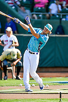 Pioneer League All-Star Mitchell Hansen (43) of the Ogden Raptors during the Home Run Derby at the 2nd Annual Northwest League-Pioneer League All-Star Game at Lindquist Field on August 2, 2016 in Ogden, Utah. The Northwest League defeated the Pioneer League 11-5.  (Stephen Smith/Four Seam Images)