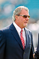 January 01, 2012:  Indianapolis Colts owner Jim Irsay on the field prior to the start of the game between the Jacksonville Jaguars and the Indianapolis Colts played at EverBank Field in Jacksonville, Florida.  Jacksonville defeated Indianapolis 19-13........