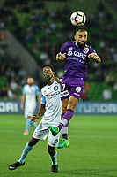 Melbourne, 23 April 2017 - DIEGO CASTRO (17) of the Glory heads the ball in the Elimination Final 2 of the A-League between Melbourne City and Perth Glory at AAMI Park, Melbourne, Australia. Perth won 2-0. Photo Sydney Low/sydlow.com