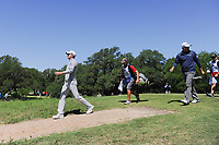 Martin Laird (SCO) and Ryan Palmer (USA) depart the second tee during round 4 of the Valero Texas Open, AT&amp;T Oaks Course, TPC San Antonio, San Antonio, Texas, USA. 4/23/2017.<br /> Picture: Golffile | Ken Murray<br /> <br /> <br /> All photo usage must carry mandatory copyright credit (&copy; Golffile | Ken Murray)