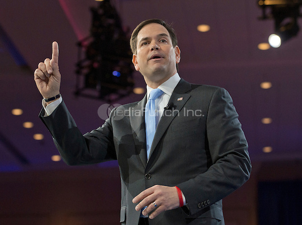 United States Senator Marco Rubio (Republican of Florida), a candidate for the Republican Party nomination for President of the United States, speaks at the Conservative Political Action Conference (CPAC) at the Gaylord National Resort and Convention Center in National Harbor, Maryland on Saturday, March 5, 2016.<br /> Credit: Ron Sachs / CNP/MediaPunch