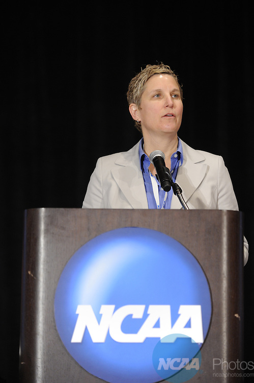 14 JAN 2011: The Division I Enforcement Overview and Trends session at the 2011 NCAA Convention held at the Grand Hyatt and Convention Center in San Antonio, TX. Stephen Nowland/NCAA Photos .Pictured: LuAnn Humphrey, Enforcement Director for basketball