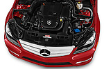 High angle engine detail of 2013 Mercedes-Benz C250 Sport Sedan Stock Photo