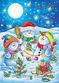 Interlitho, CHRISTMAS SANTA, SNOWMAN, paintings+++++,3 snowmen,moon,KL5990,#x# Weihnachtsmänner, Schneemänner, Weihnachen, Papá Noel, muñecos de nieve, Navidad, illustrations, pinturas