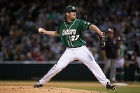 Charlotte 49ers relief pitcher Trevor Gay (27) in action against the North Carolina State Wolfpack at BB&T Ballpark on March 31, 2015 in Charlotte, North Carolina.  The Wolfpack defeated the 49ers 10-6.  (Brian Westerholt/Four Seam Images)