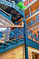 Bradbury Building, architectural landmark, Los Angeles, California, built 1893, Interior, filigree ironwork, skylight, glazed brick, ornamental, cast iron, tiling, rich, marble, polished wood, skylight High dynamic range imaging (HDRI or HDR)