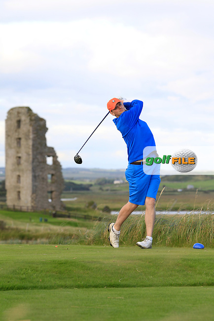 Niall Morrison (Cahir Park) on the 13th tee during Round 2 of The South of Ireland in Lahinch Golf Club on Sunday 27th July 2014.<br /> Picture:  Thos Caffrey / www.golffile.ie