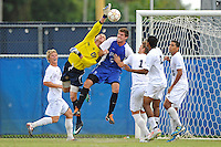 2 October 2011:  FIU's Rodney Greiling (00) prevents a goal following a Kentucky corner kick in the first half (also pictured, Kentucky's Brad Walker (5), FIU's Anthony Hobbs (16), Sebastian Frings (11), Colby Burdette (2) and Christian Melean (6)) as the FIU Golden Panthers defeated the University of Kentucky Wildcats, 1-0 in overtime, at University Park Stadium in Miami, Florida.