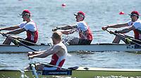 Brandenburg. GERMANY.<br /> BLR M4- apporaching the finishing line. 2016 European Rowing Championships at the Regattastrecke Beetzsee<br /> <br /> Saturday  07/05/2016<br /> <br /> [Mandatory Credit; Peter SPURRIER/Intersport-images]