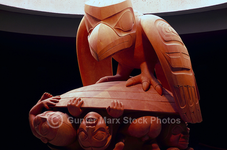 The Raven and the First Men Sculpture (Haida Artist - Bill Reid), Museum of Anthropology, University of British Columbia (UBC), Vancouver, BC, British Columbia, Canada