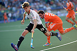 The Hague, Netherlands, June 06: Florian Fuchs #23 of Germany dribbles the ball during the field hockey group match (Men - Group B) between Germany and The Netherlands on June 6, 2014 during the World Cup 2014 at Kyocera Stadium in The Hague, Netherlands. Final score 0-1 (0-1) (Photo by Dirk Markgraf / www.265-images.com) *** Local caption ***