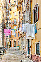 The famous alleyways (kantounia) in the old town of Corfu, Greece